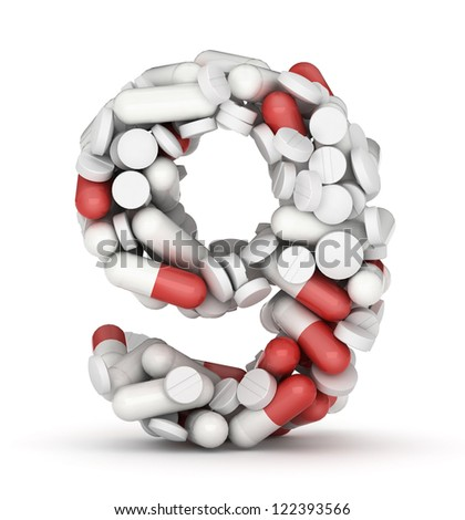 Number 9, alphabet of medicine pills - stock photo