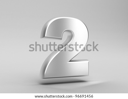 number 2 aluminum iron on grey background - stock photo