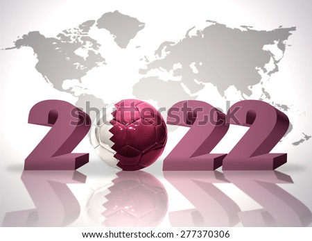 number 2020 and football ball with the national flag of qatar on a world map background - stock photo