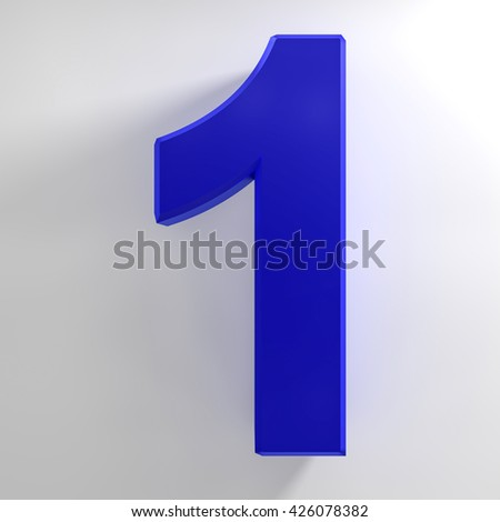 Number 1 blue color collection on white background illustration 3D rendering