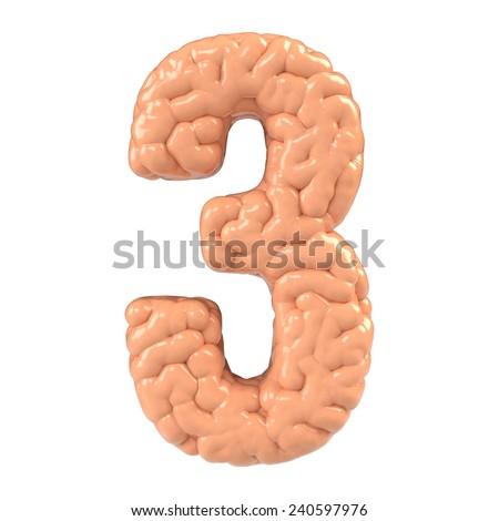 Number 3. Brain alphabet isolated on white background. Brain font.  - stock photo