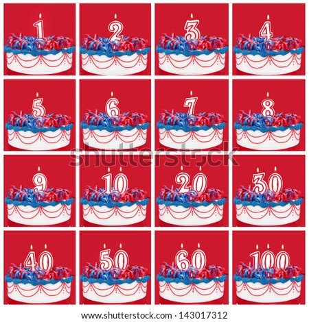 Number candles on vibrant frosted cake with ribbons.  Useful collection, with vibrant red background. - stock photo