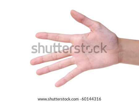 Number 5 designated by fingers on a white background - stock photo