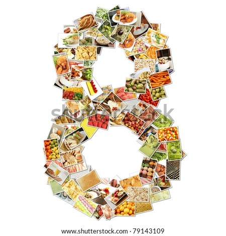 Number 8 Eight with Food Collage Concept Art - stock photo