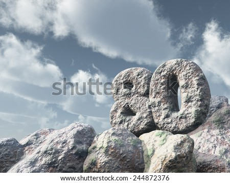 number eighty rock under cloudy blue sky - 3d illustration - stock photo