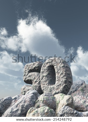 number fifty rock under cloudy blue sky - 3d illustration - stock photo