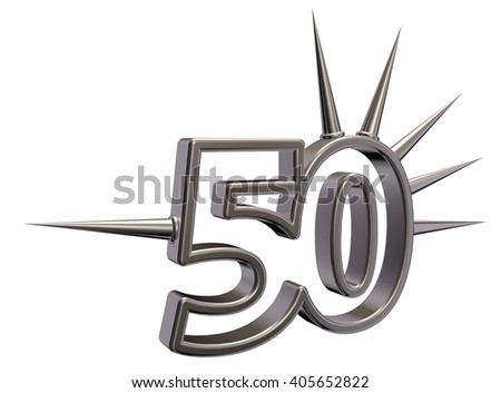 number fifty with prickles on white background - 3d illustration - stock photo