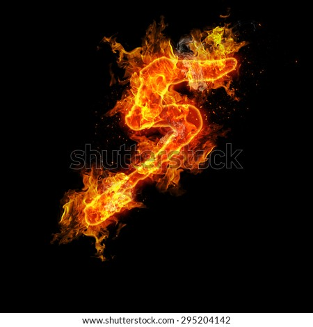 Number five fire on a black background. - stock photo
