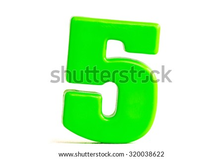 Number five made of plastic, isolated over the white background - stock photo