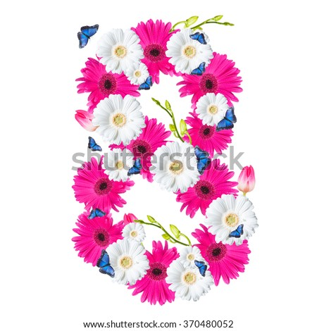 Number 8,  flower isolated on white background. Gerber, tulips and butterfly  - stock photo