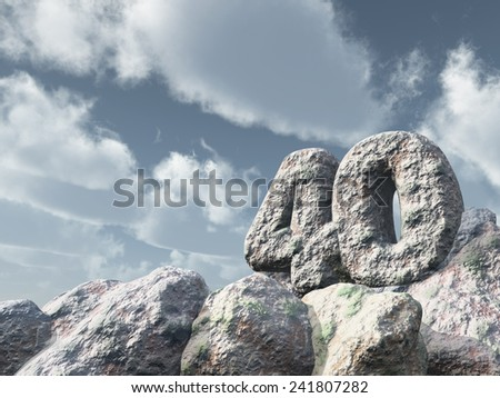 number forty rock under cloudy blue sky - 3d illustration - stock photo