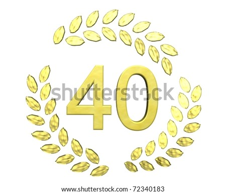 number forty with laurel wreath - stock photo