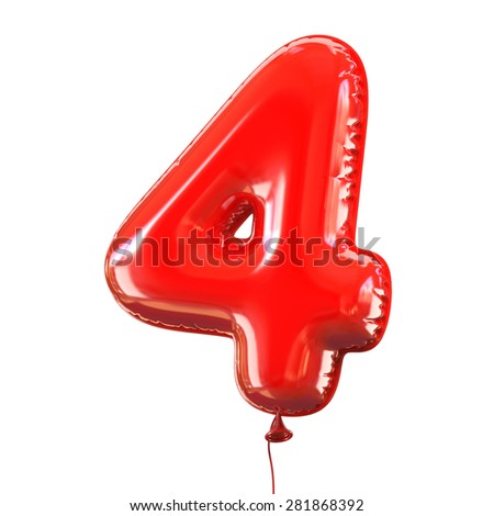 number four - 4 balloon font