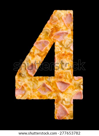 number four cut out of pizza with ham and mushrooms - stock photo