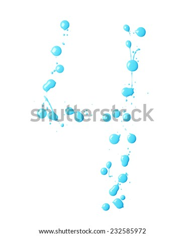Number four digit character made with multiple oil paint spill drops isolated over the white background - stock photo