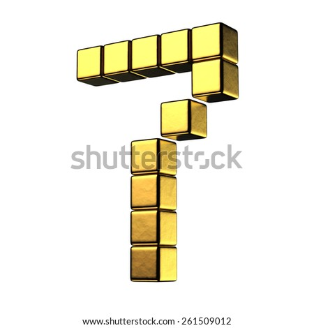 Number 7 from big cube gold perspective alphabet. There is a clipping path - stock photo