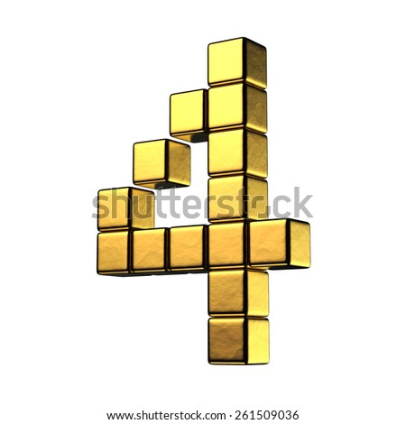 Number 4 from big cube gold perspective alphabet. There is a clipping path - stock photo