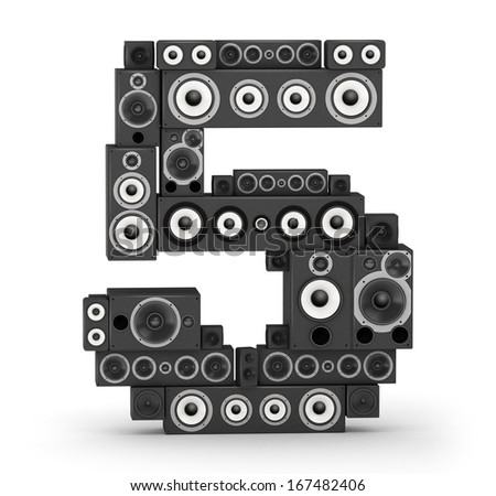 Number 5 from black woods hi-fi speakers sound systems - stock photo