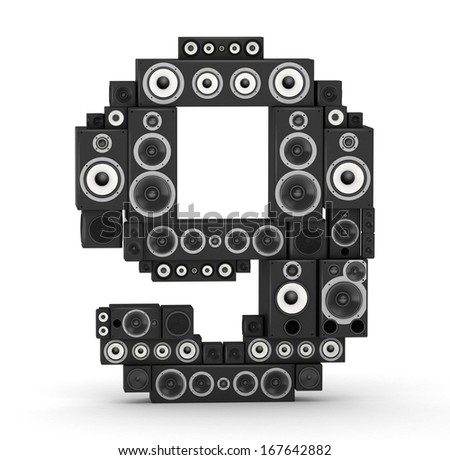 Number 9 from black woods hi-fi speakers sound systems - stock photo