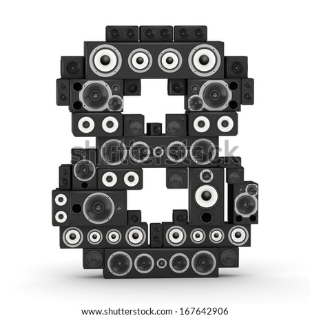Number 8 from black woods hi-fi speakers sound systems - stock photo