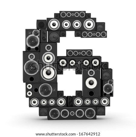 Number 6 from black woods hi-fi speakers sound systems - stock photo