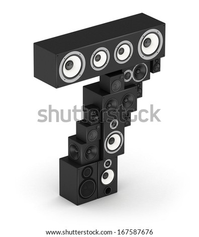 Number 7 from black woods hi-fi speakers sound systems in isometry - stock photo
