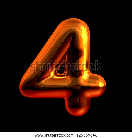 Number 4 from chrome orange sunset alphabet. There is a clipping path - stock photo
