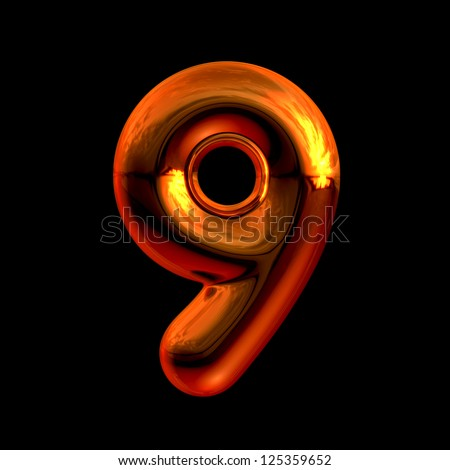 Number 9 from chrome orange sunset alphabet. There is a clipping path - stock photo