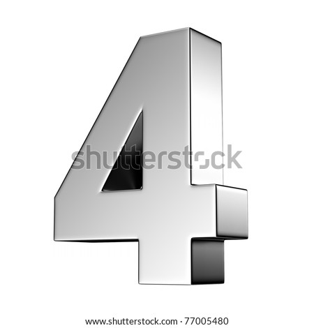 Number 4 from chrome solid alphabet. There is a clipping path - stock photo
