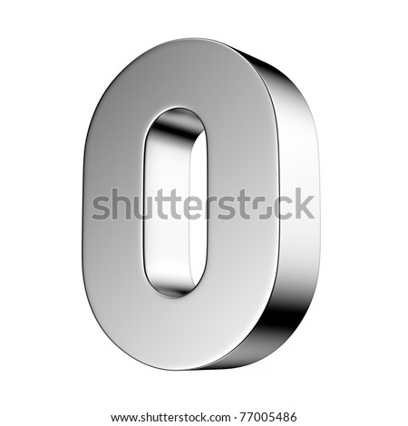 Number 0 from chrome solid alphabet. There is a clipping path - stock photo