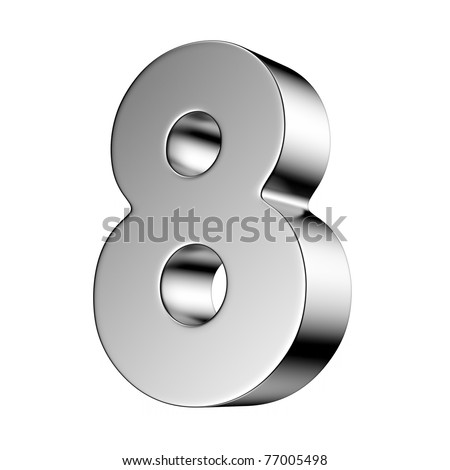 Number 8 from chrome solid alphabet. There is a clipping path - stock photo