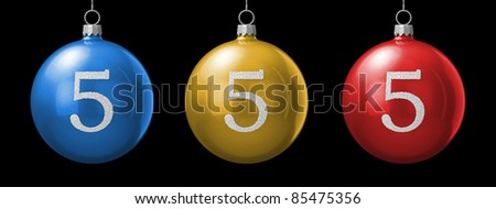 Number 5 from cristmas ball alphabet. There is a clipping path - stock photo