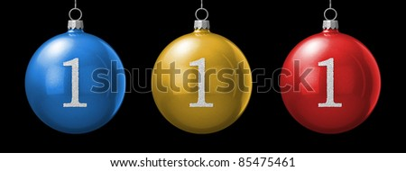 Number 1 from cristmas ball alphabet. There is a clipping path - stock photo