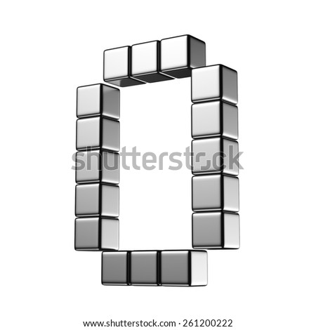 Number 0 from digital cube middle perspective alphabet. There is a clipping path - stock photo