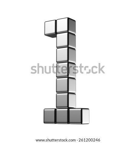 Number 1 from digital cube middle perspective alphabet. There is a clipping path - stock photo