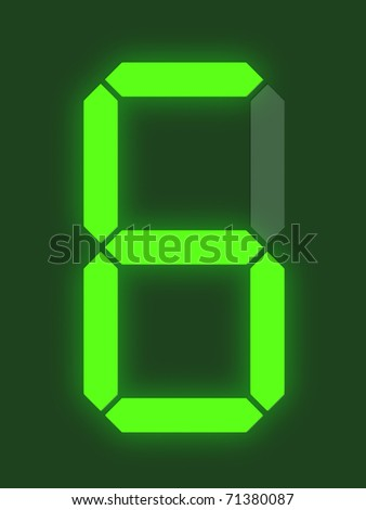 Number 6 from digital display series - stock photo