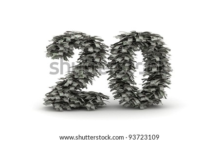 Number 20  from dollars bills like leafs - stock photo