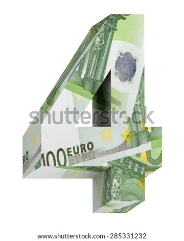Number from euro bill alphabet set isolated over white. Computer generated 3D photo rendering.