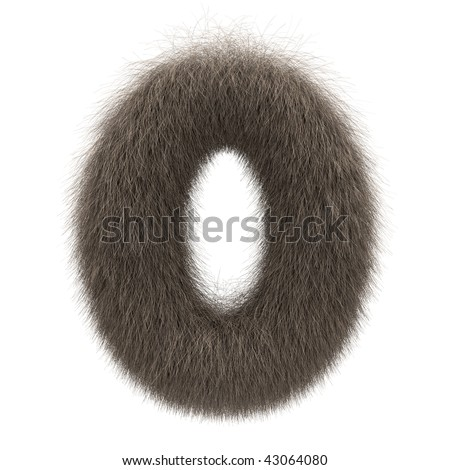 Number 0 from fur alphabet - stock photo
