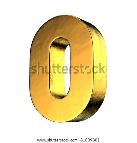 Number 0 from gold solid alphabet. There is a clipping path - stock photo