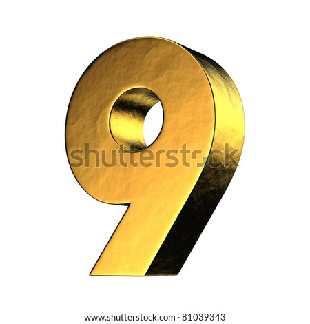 Number 9 from gold solid alphabet. There is a clipping path