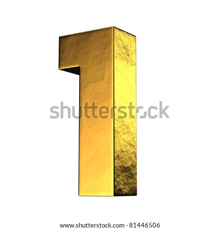 Number 1 from gold solid alphabet. There is a clipping path - stock photo