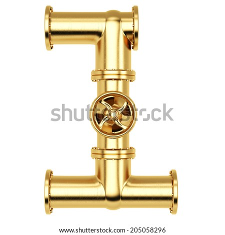 Number from golden gas pipes. Isolated on white background. - stock photo