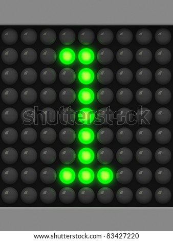 Number 1 from green creeping line alphabet - stock photo
