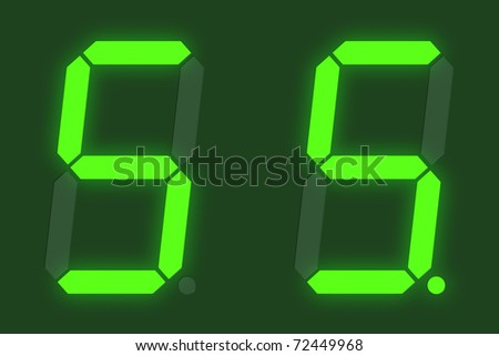 Number 5 from green digital display set - stock photo