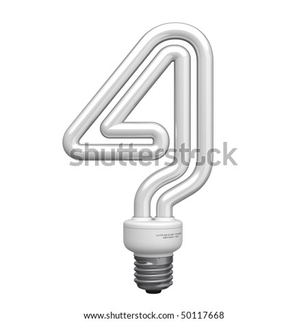 Number 4 from lamp alphabet. There is a clipping path