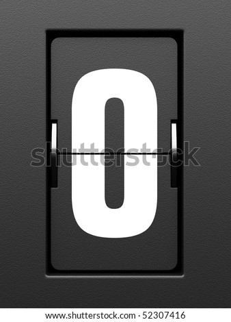 Number 0 from mechanical scoreboard alphabet - stock photo