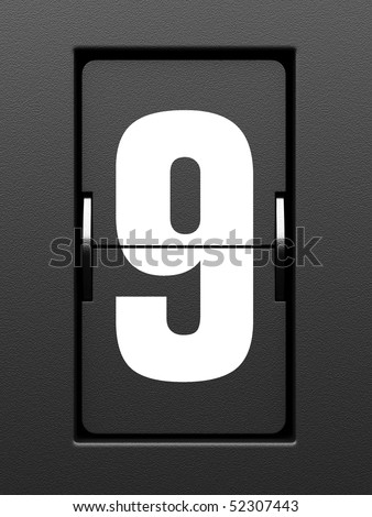 Number 9 from mechanical scoreboard alphabet - stock photo