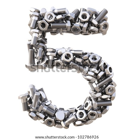 number from nuts and bolts. isolated on white.