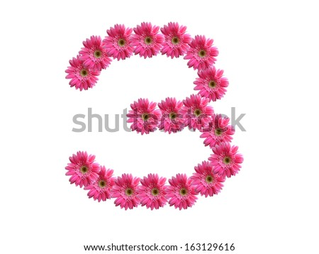 Number 3 from pink gerbera flowers alphabet isolated on white background - stock photo